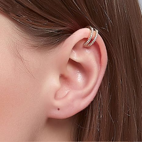 double layer full diamond ear clip c-shaped fashion  simple non-pierced earrings wholesale  NHDP244383's discount tags