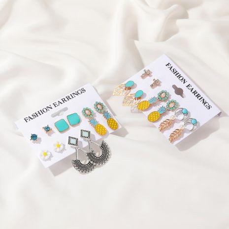 Fashion Boho style retro leaf cross pineapple new set earrings wholesale NHDP244387's discount tags