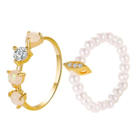 two-piece ring simple pearl ring colorful elastic ring wholesale nihaojewelry NHDP244389's discount tags