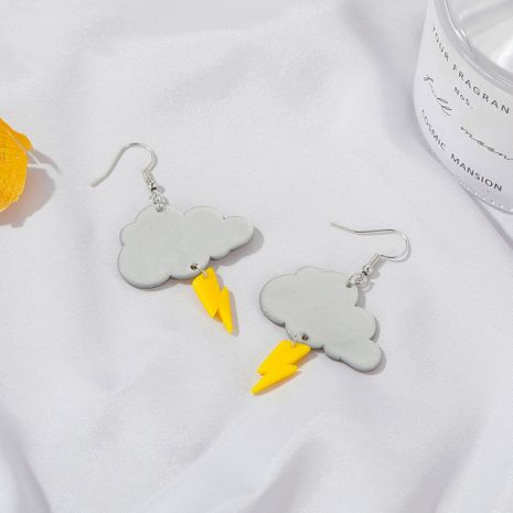 Korean new cute dark clouds lightning earrings creative cartoon DIY cloud earrings wholesale nihaojewelry NHDP244391's discount tags