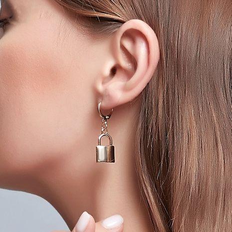 hot sale lock earrings creative ear buckle pendant punk style hip hop earrings wholesale nihaojewelry NHDP244398's discount tags