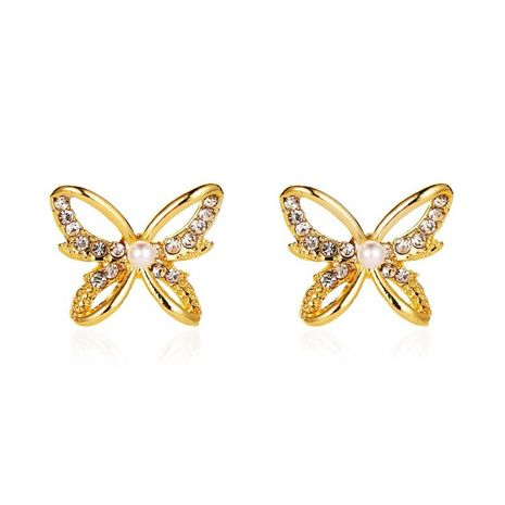 Korea new hollow butterfly simple pearl three-dimensional butterfly Korean hot earrings NHDP244399's discount tags