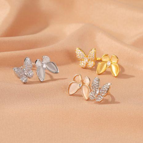 anneau d'ouverture réglable de mode papillon perle blanche exagérée en gros NHDP244372's discount tags