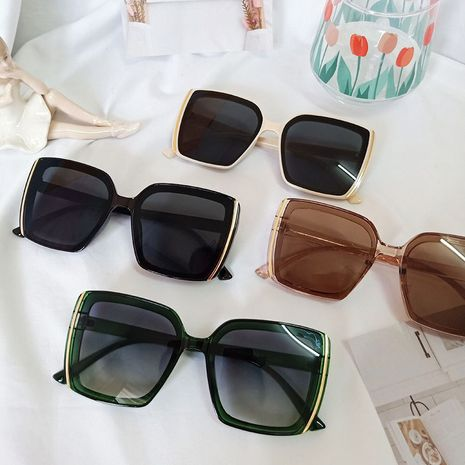 Fashion big frame Korean trendy street plain wild beige sunglasses wholesale NHBA244837's discount tags