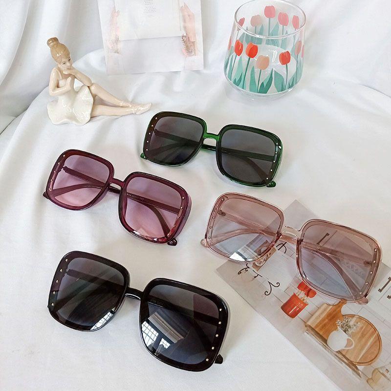 new Korean square box trendy black orange fashion street shooting UV protection polarized round face sunglasses NHBA244839