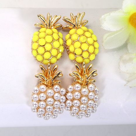 color rhinestone inlaid pineapple-shaped metal diamond earrings  NHJQ244887's discount tags