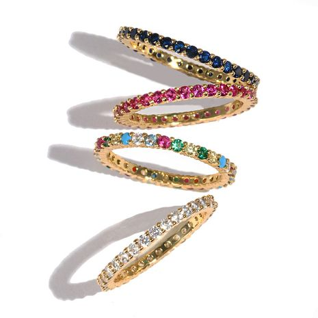 hot-selling copper ring fashion gold-plated color zircon ring wholesale nihaojewelry NHJJ244892's discount tags