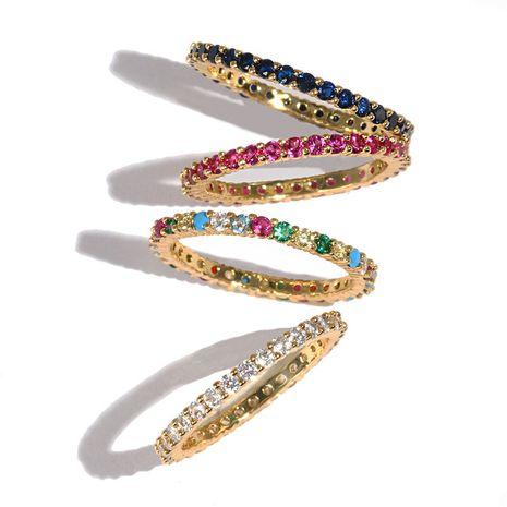 bague en cuivre de vente chaude bague en zircon couleur plaqué or en gros nihaojewelry NHJJ244892's discount tags