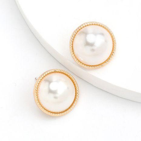 Boucles d'oreilles en argent S925 en alliage rond simple incrusté de perles NHJE244894's discount tags