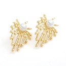Korean simple alloy inlaid pearl flower earrings wholesale nihaojewelry NHJE244896