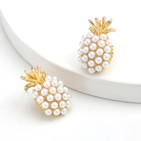 Fashion summer fruit style simple alloy inlaid pearl pineapple earrings wholesale nihaojewelry NHJE244897's discount tags