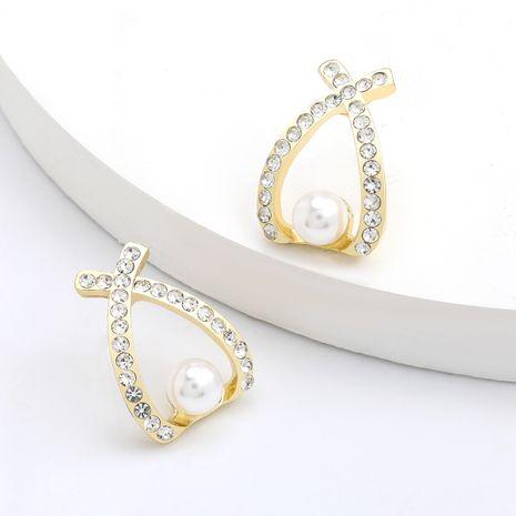 Boucles d'oreilles géométriques en diamant et perles en alliage de mode coréenne S925 boucles d'oreilles en argent en gros nihaojewelry NHJE244900's discount tags