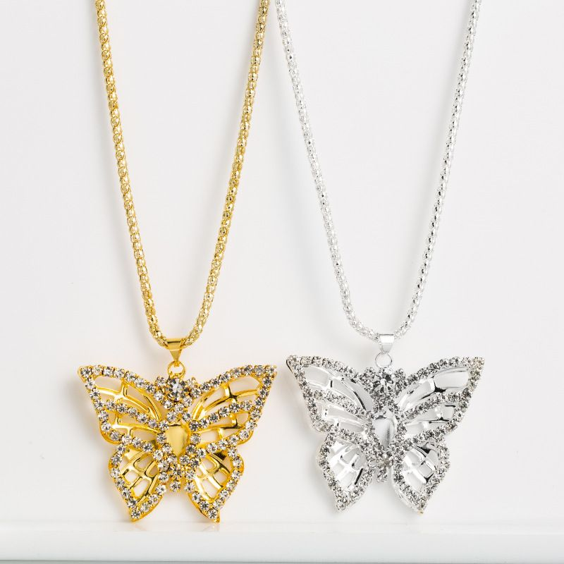 Fashion hip hop style alloy long butterflyshaped hollow gold silver rhinestones necklace  NHLN244914