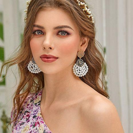 retro pearl earrings hot selling new earrings alloy hollow geometric earrings NHMD244917's discount tags