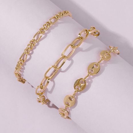 hot-selling jewelry disc chain type alloy bracelet hollow 3-piece set wholesale NHMD244919's discount tags