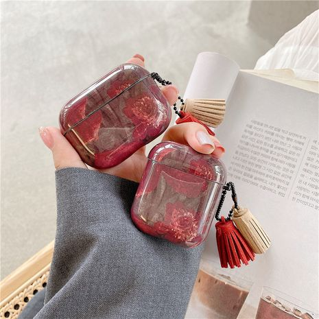 Vintage wine red flower protective sleeve for Apple AirpodsPro wireless Bluetooth headset Airpods 1/2 generation NHFI245045's discount tags