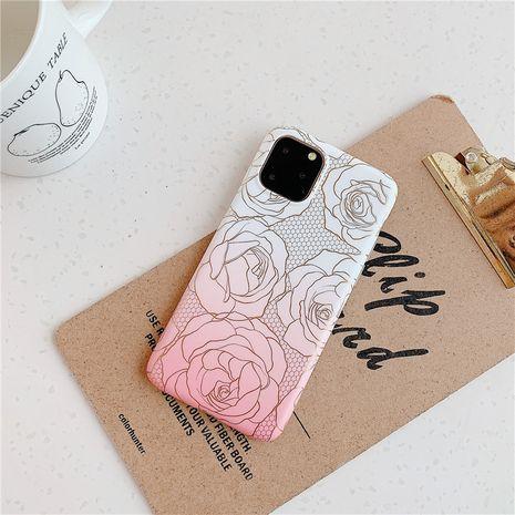 Caja simple del teléfono móvil de la flor color de rosa del estampado en caliente para Huawei p30pro iphone XR al por mayor nihaojewelry NHFI245058's discount tags