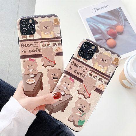 Coffee bear creative origami soft shell para iphone x / xs / 11promax funda para teléfono móvil al por mayor nihaojewelry NHFI245069's discount tags