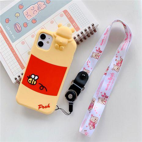 Caja linda del teléfono móvil de la historieta para el cordón anti-caída del silicón de Apple 11ProMax iPhone8plus XR se2 NHFI245074's discount tags