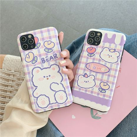 El oso a cuadros púrpura es adecuado para la funda para teléfono móvil 11Pro xsmax Apple XS XR iPhone7p silicona SE2 NHFI245076's discount tags