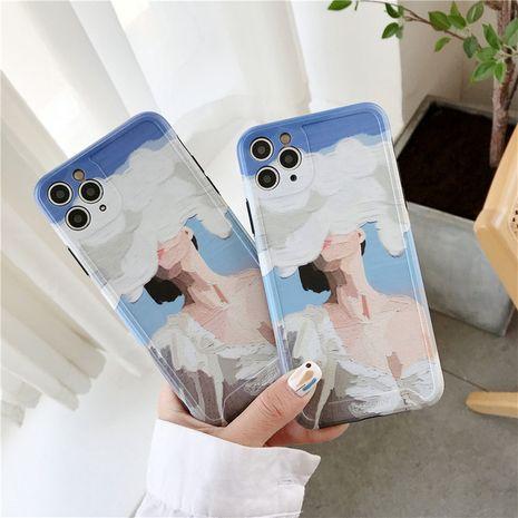 Pintura al óleo coreana cloud girl iphone 11Pro / Max todo incluido caja del teléfono con cámara al por mayor nihaojewelry NHFI245077's discount tags