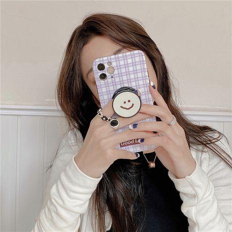 Estilo coreano púrpura plaid smiley face holder funda iphone 11Pro / Max funda para teléfono móvil al por mayor nihaojewelry NHFI245078's discount tags