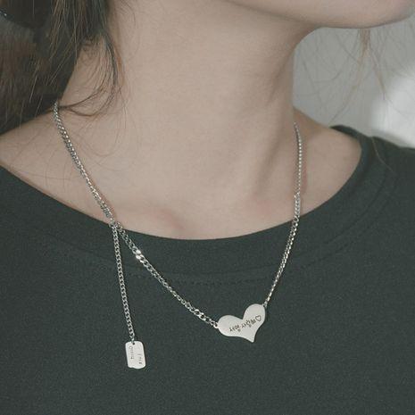 Niche coréenne en forme d'amour lettre pendentif en acier inoxydable collier bijoux NHHF244778's discount tags
