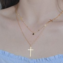 Korean niche double cross pendant simple and versatile new clavicle chain necklace for women NHHF244779