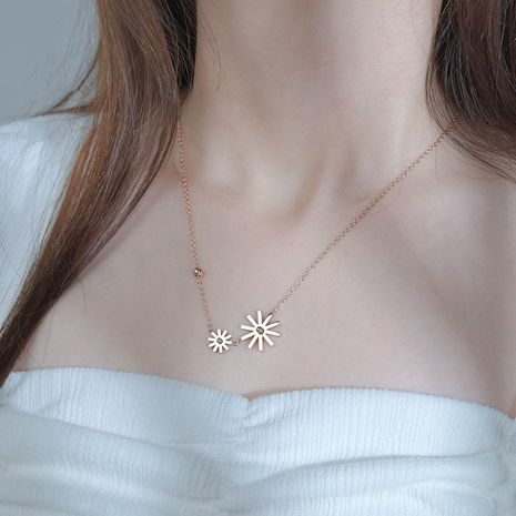Sunflower Girls Daisy Pendant Rose Gold Flower Clavicle Chain Titanium Steel Necklace NHHF244788's discount tags