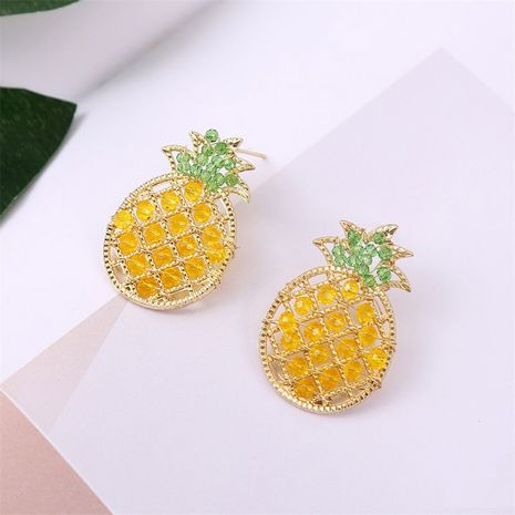 925 silver needles geometric handmade beaded crystal pineapple simple fruit earrings jewelry NHLA245122's discount tags