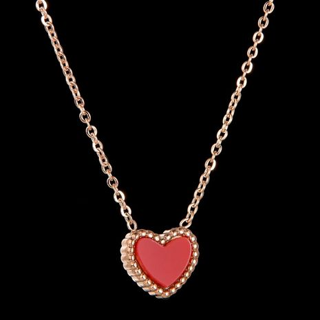 Collier d'amour double face coréen en acier au titane et pêche en forme de coeur NHHF244787's discount tags
