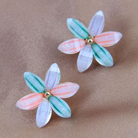 925 silver needle Korean fashion sweet and colorful flower alloy earrings NHSC245525's discount tags