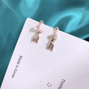 S925 sterling silver diamond sika deer pearl earrings NHKL245470