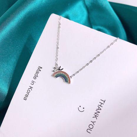 S925 Silver Sun Color Diamond Rainbow Necklace NHKL245473's discount tags