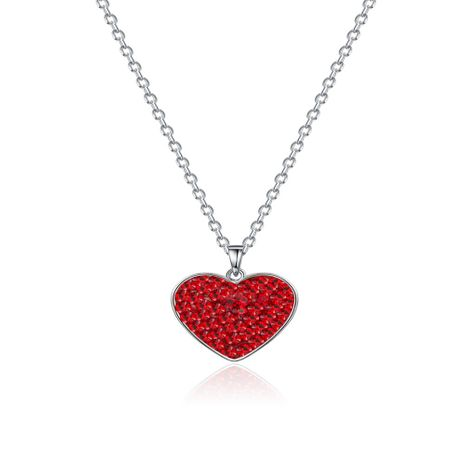 S925 Silver Red Heart LOVE Necklace NHKL245474's discount tags