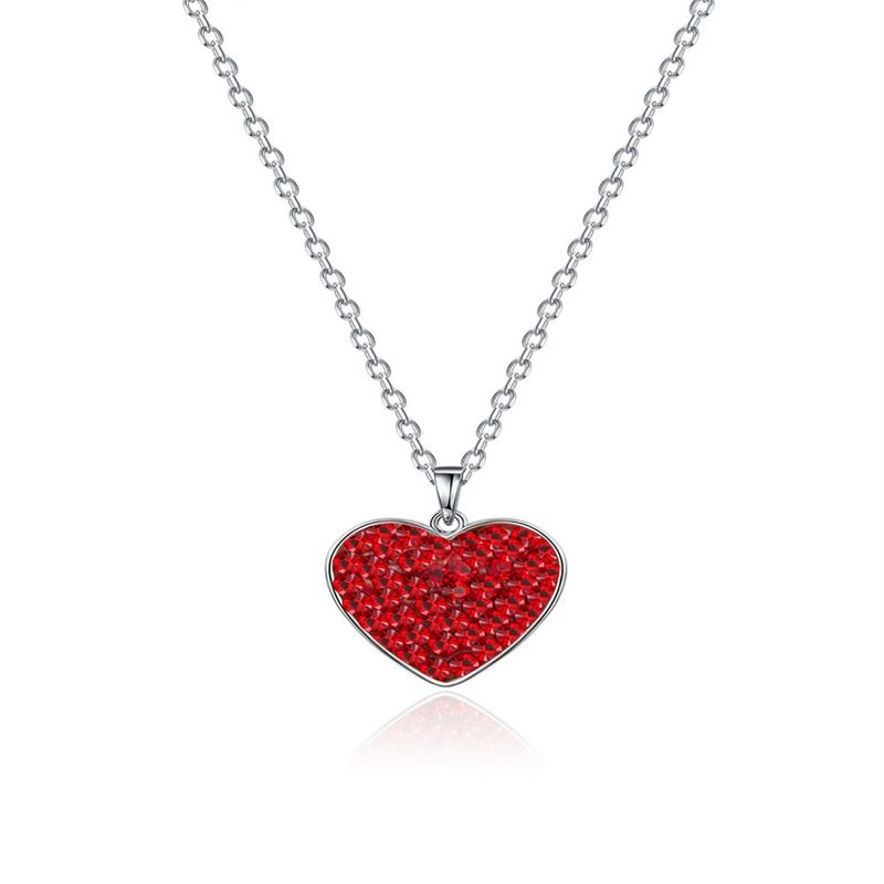 S925 Silver Red Heart LOVE Necklace NHKL245474