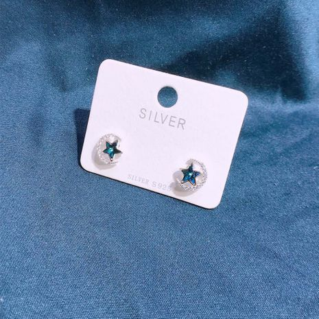 S925 silver crystal star  moon earrings NHKL245475's discount tags