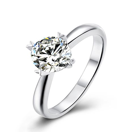 Classic  S925 Silver Platinum Plated Moissanite 1 Carat Class D Ring NHKL245477's discount tags