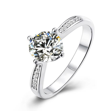 Micro-set S925 Silver Platinum Plated Moissanite Diamond 1 Carat Class D Ring NHKL245478's discount tags