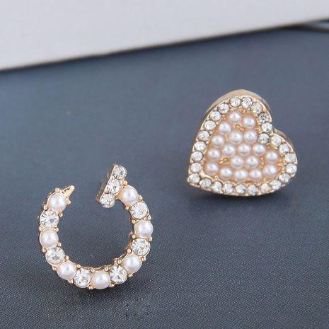 Korean Fashion Sweet All-match Flash Diamond Pearl Rivet Love Asymmetric alloy Stud Earrings NHSC245522's discount tags