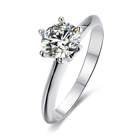 Micro-set S925 Silver Platinum Plated Moissanite Diamond 1 Carat Class D Ring NHKL245479's discount tags