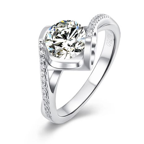 Angel  Kiss S925 Silver Platinum Plated Moissanite 1 Carat Class D Ring NHKL245480's discount tags