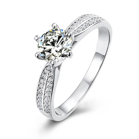 Micro Inlaid Star Angel Queen S925 Silver Platinum Plated Moissanite 1 Carat Class D Ring NHKL245481's discount tags