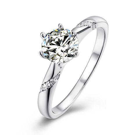 S925 silver platinum plated  1 carat D grade ring NHKL245482's discount tags