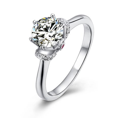 true love crowned S925 silver platinum plated 1 carat D grade ring NHKL245483's discount tags
