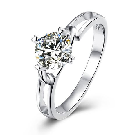 Simple Twisted Flower S925 Silver Platinum Plated Moissanite 1 Carat Class D Ring NHKL245486's discount tags