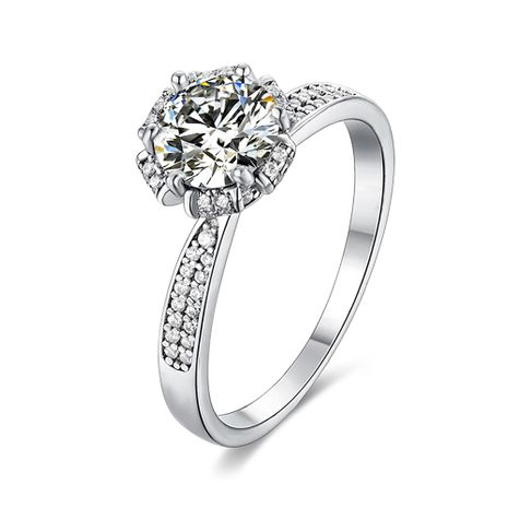 S925 Silver Platinum Plated Moissan Diamond 1 Carat Class D Ring NHKL245487's discount tags