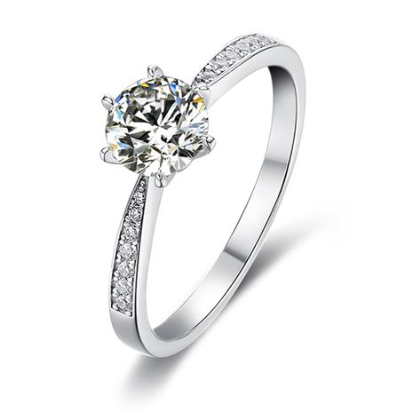 S925 Silver Platinum Plated Moissan Diamond 1 Carat Class D Ring NHKL245488's discount tags