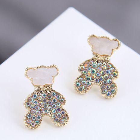 925 Silver Needle  Korean Fashion Metal Flash Diamond Cute Bear alloy Stud Earrings NHSC245520's discount tags