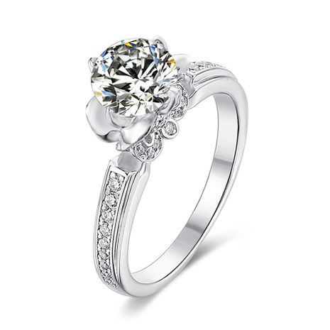 S925 Silver Platinum Plated Moissan Diamond 1 Carat Class D Ring NHKL245490's discount tags